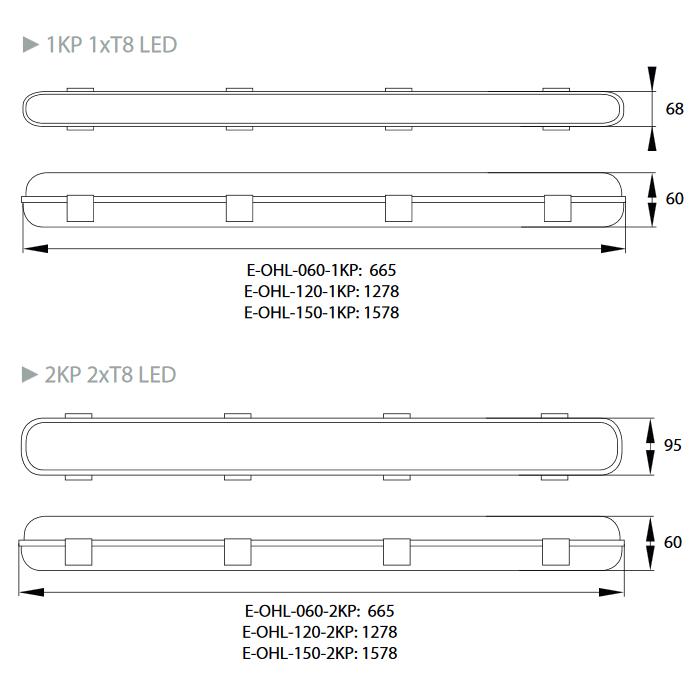 LED Feuchtraumleuchte SET PC Tageslicht 6000K 1x120cm